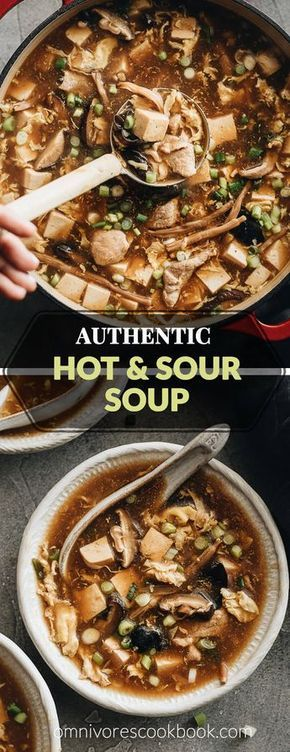 Hot and Sour Soup (酸辣汤) - Authentic Chinese restaurant-style hot and sour soup made easy. The hearty broth is loaded with veggies and is so satisfying and healthy. The recipe includes notes on how to tweak the soup into a vegetarian one and to use whatever veggies you have on hand. #takeout #recipes #traditional #chinesemeals