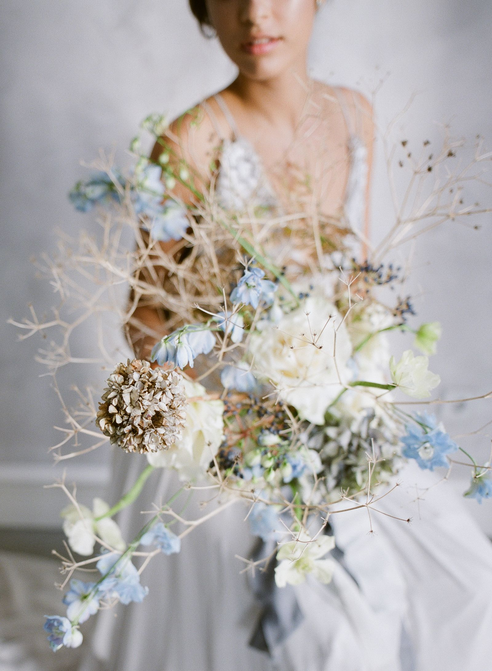 Serene coastal bridal inspiration in blue and grey hues portugal