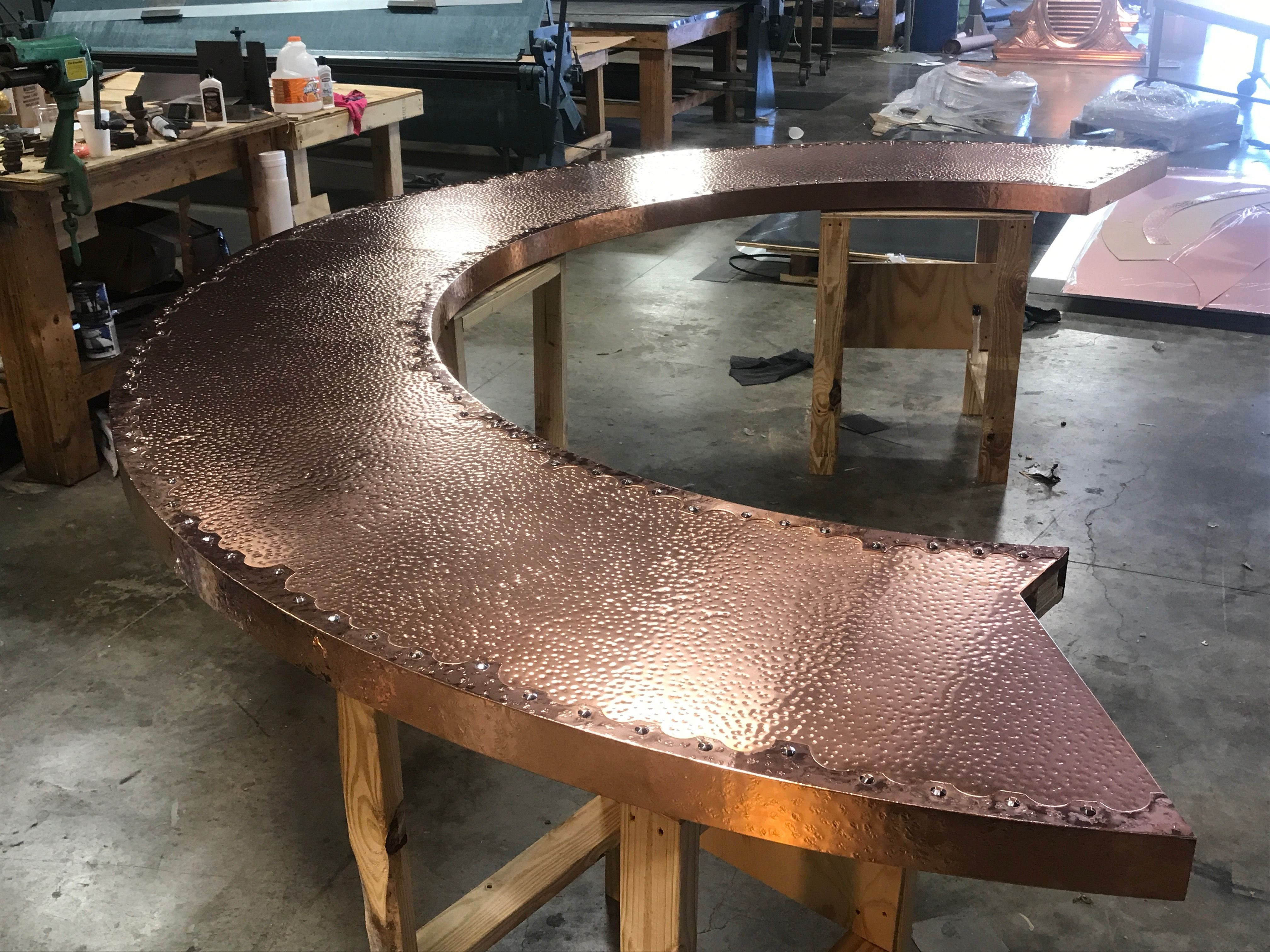 Hand-crafted custom copper bar top with a hand hammered ...