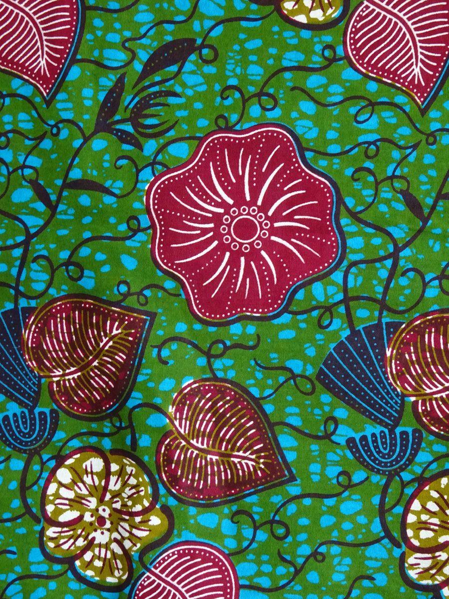 African print fabric by the yard/ Green flower African fabric/ Ankara fabric…
