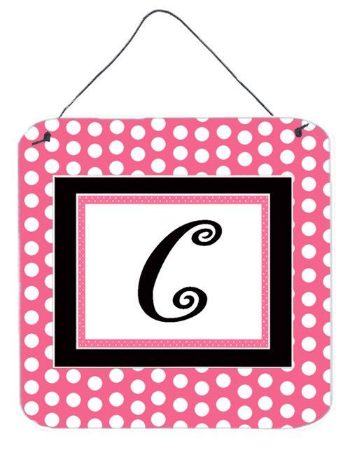 Letter C Initial - Pink Black Polka Dots Wall or Door Hanging Prints
