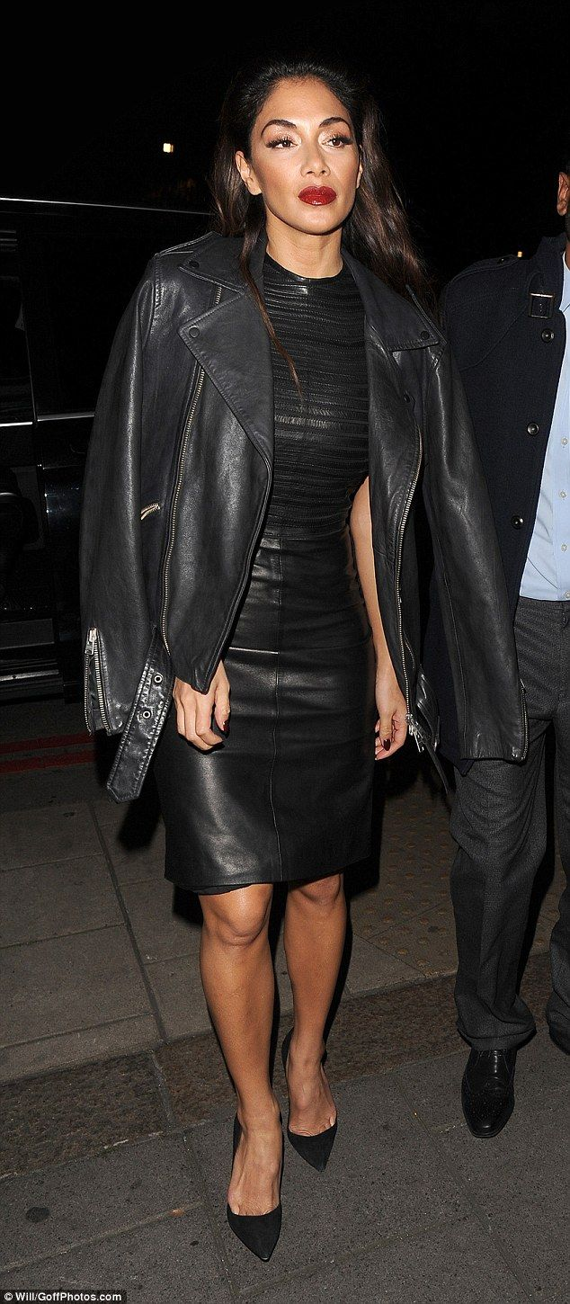Nicole Scherzinger Looks Incredible In Sexy Skintight Leather Dress Black DressesLeather SkirtsNicole