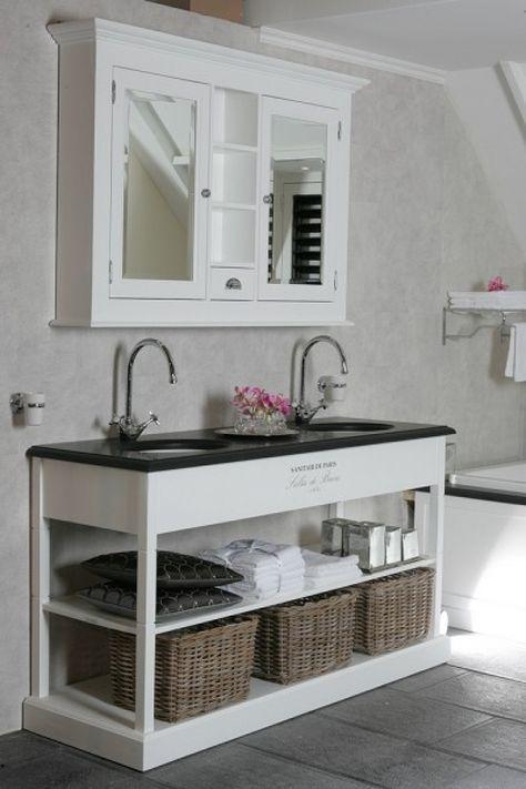 Waschtisch weiß, Doppelwaschtisch weiß im Landhausstil, Breite 132 - badezimmer im landhausstil