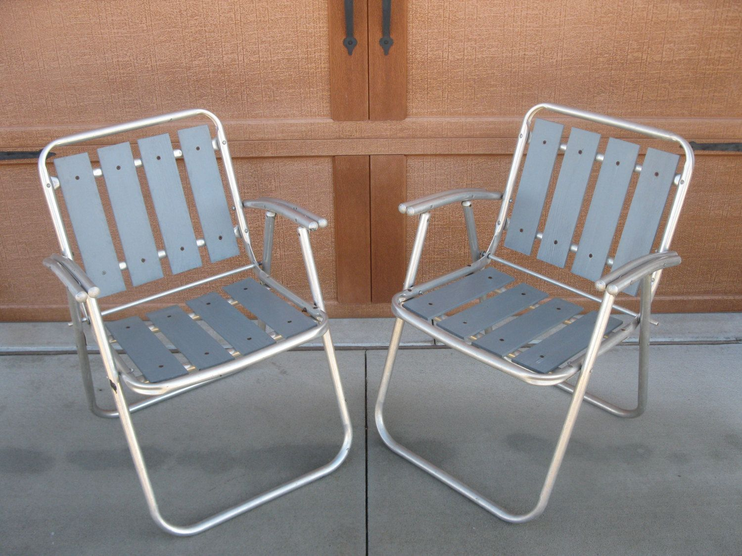 WOOD LAWN Chairs   Aluminum Folding Chair  SET Of 2  1960s  Wood Folding