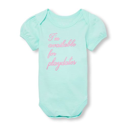 a7f6a558f Baby Girls Short Sleeve Glitter  I m Available For Playdates  Graphic  Bodysuit