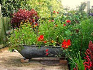 Baignoire en zinc remplie de fleurs   Jardinage, Jardins et ...