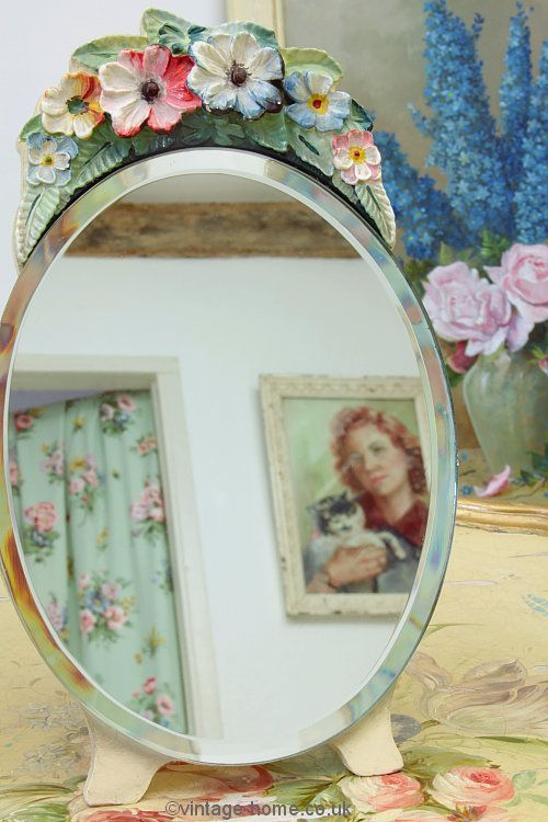 Astonishing Vintage Home Shop Pretty 1930S Floral Barbola Mirror Home Interior And Landscaping Ologienasavecom