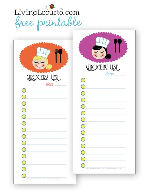 Cute Free Printable Grocery Shopping Lists #freeprintable - food shopping list template