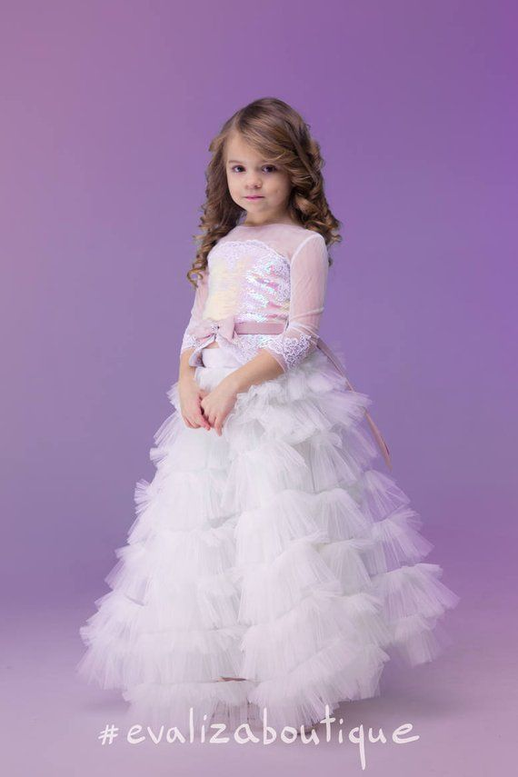 3dd11357006e07 Girls  pink magic sequins TOP and White tulle tiered SKIRT- Toddler Tutu- Birthday  Party Outfit- Chi