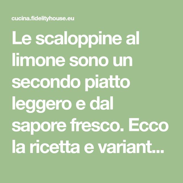 Ricette, Limone E Secondi
