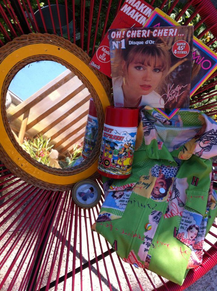 Miroir rotin a rafraîchir #cadre bombé papillon #thermos Disney #45t Karen Cheryl (pour mon chéri!) #chemisier vintage
