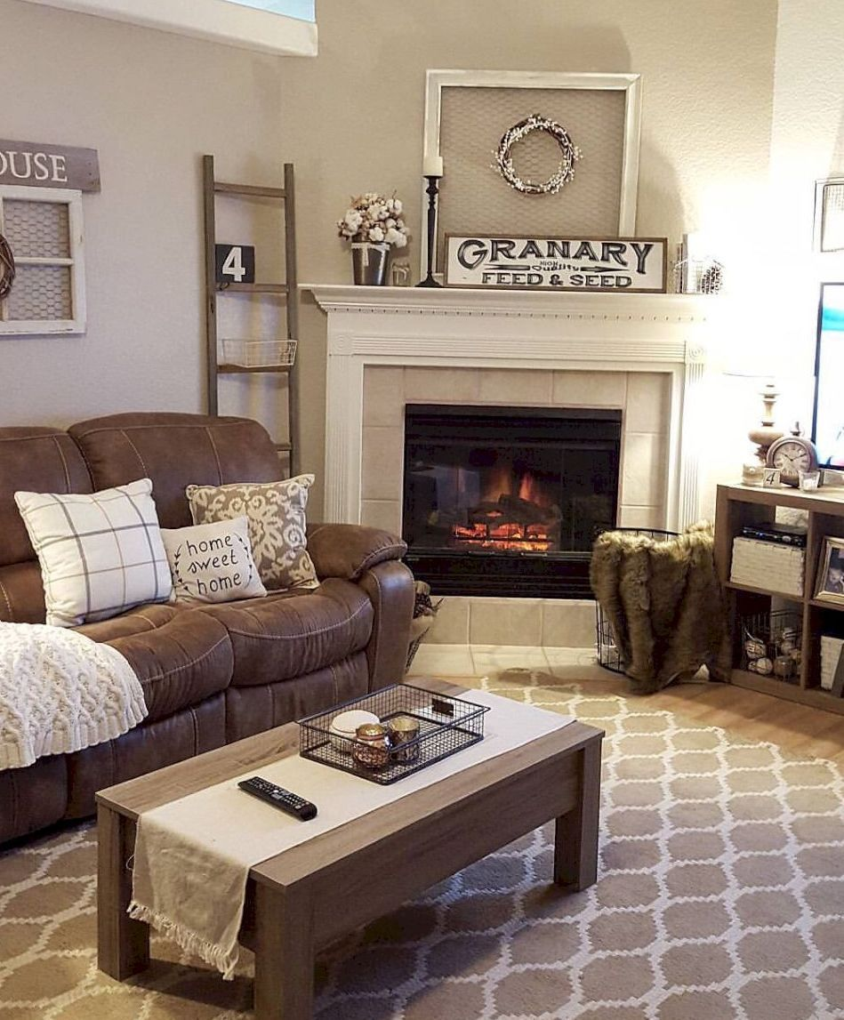 56 Rustic Farmhouse Living Room Decor Ideas Brown Couch Living