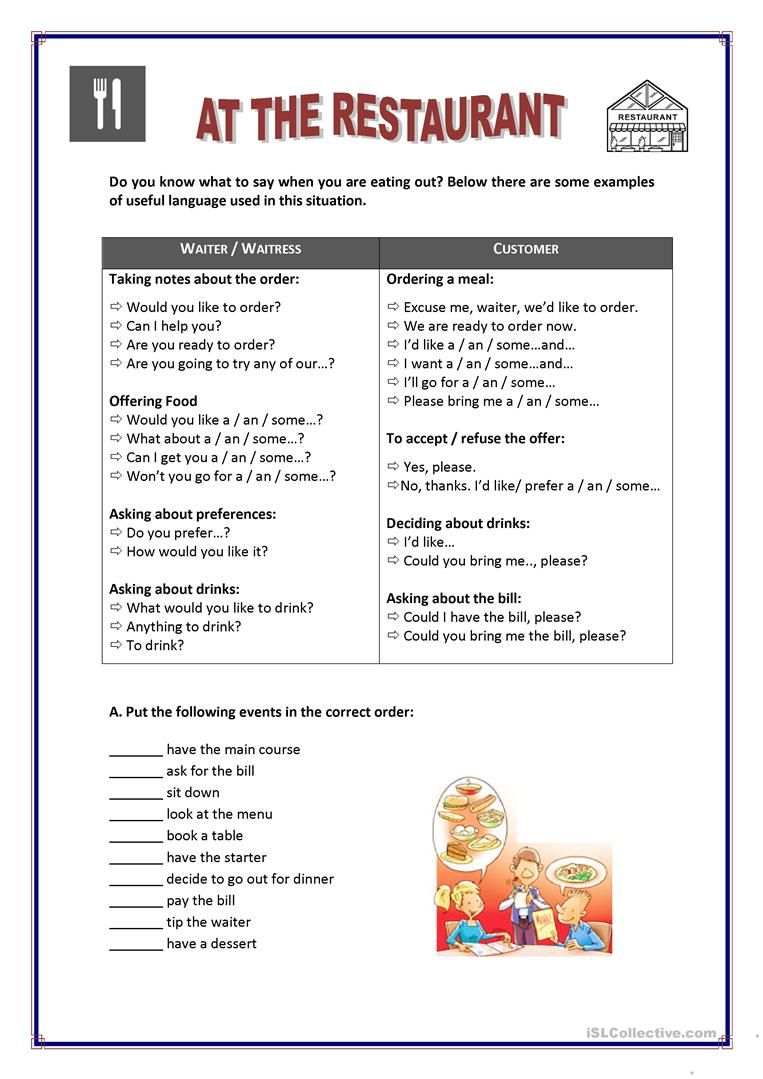 At The Restaurant Worksheet Free Esl Printable Worksheets Made By Teachers Conversational English English Lessons English Vocabulary