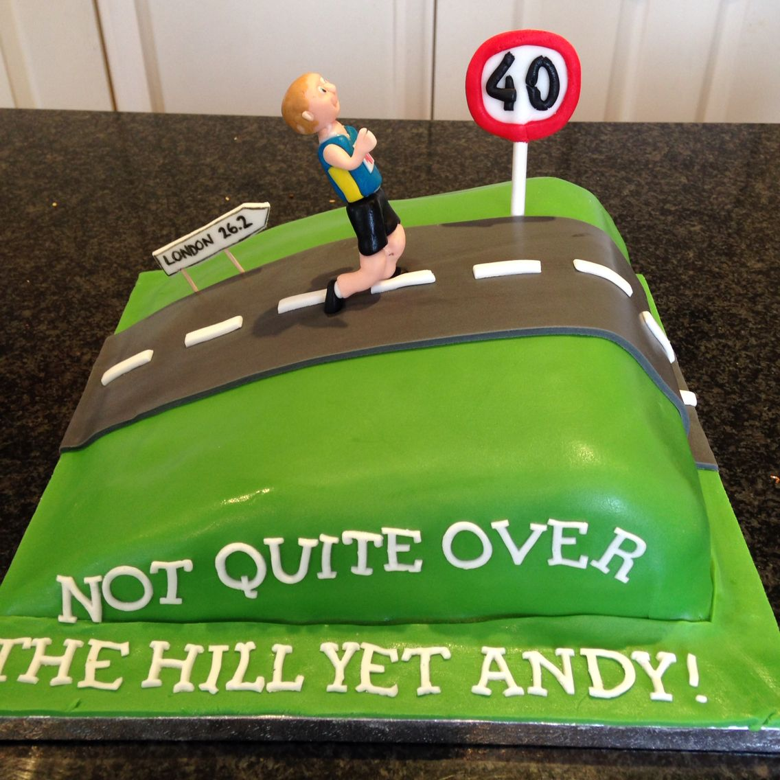 Over The Hill 40th Birthday Cake For Marathon Runner Party