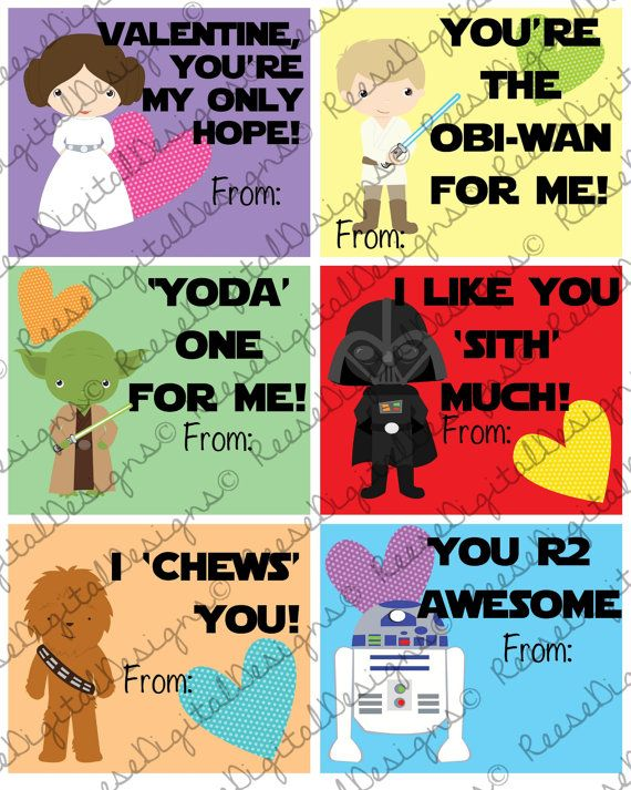 Printable Valentines Day Cards Star Wars by ReeseDigitalDesigns – Star Wars Valentines Day Cards