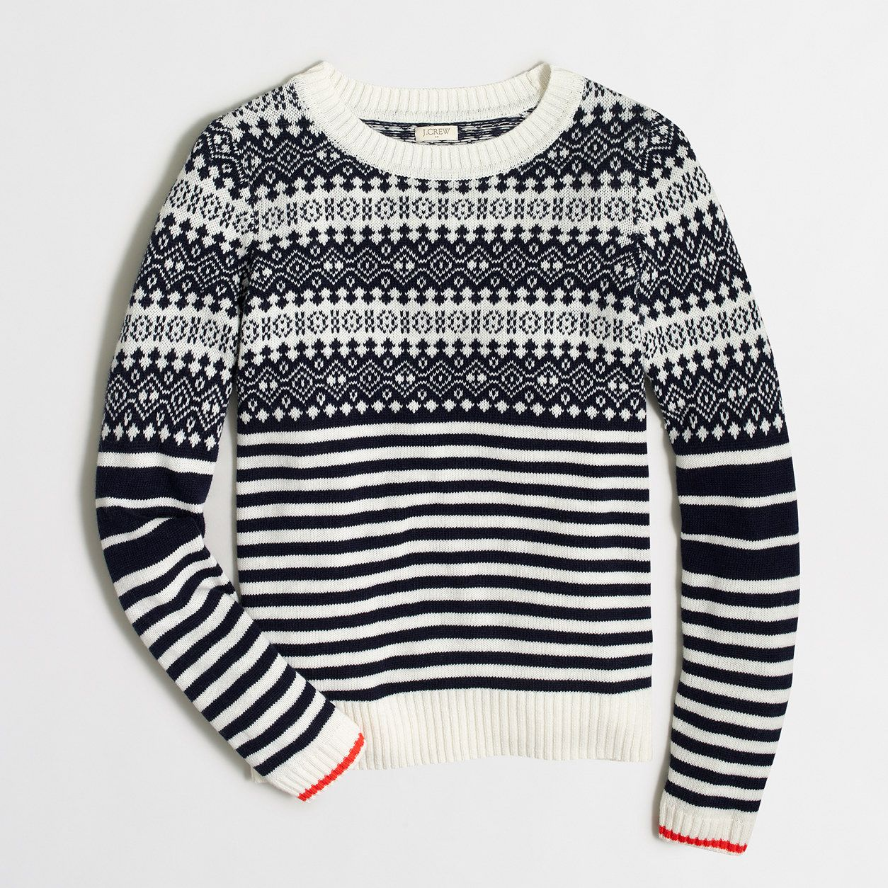 Factory Fair Isle sweater with stripes : crewnecks & boatnecks | J ...