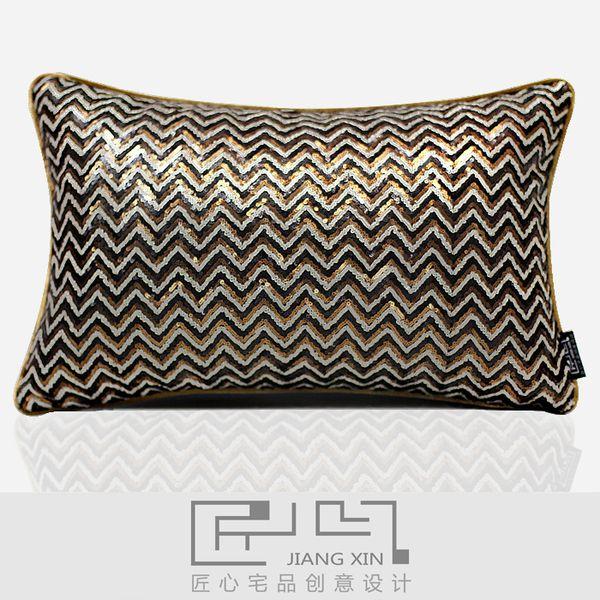 匠心宅品现代北欧样板房软装靠包抱枕金属珠片装饰腰枕(不含芯