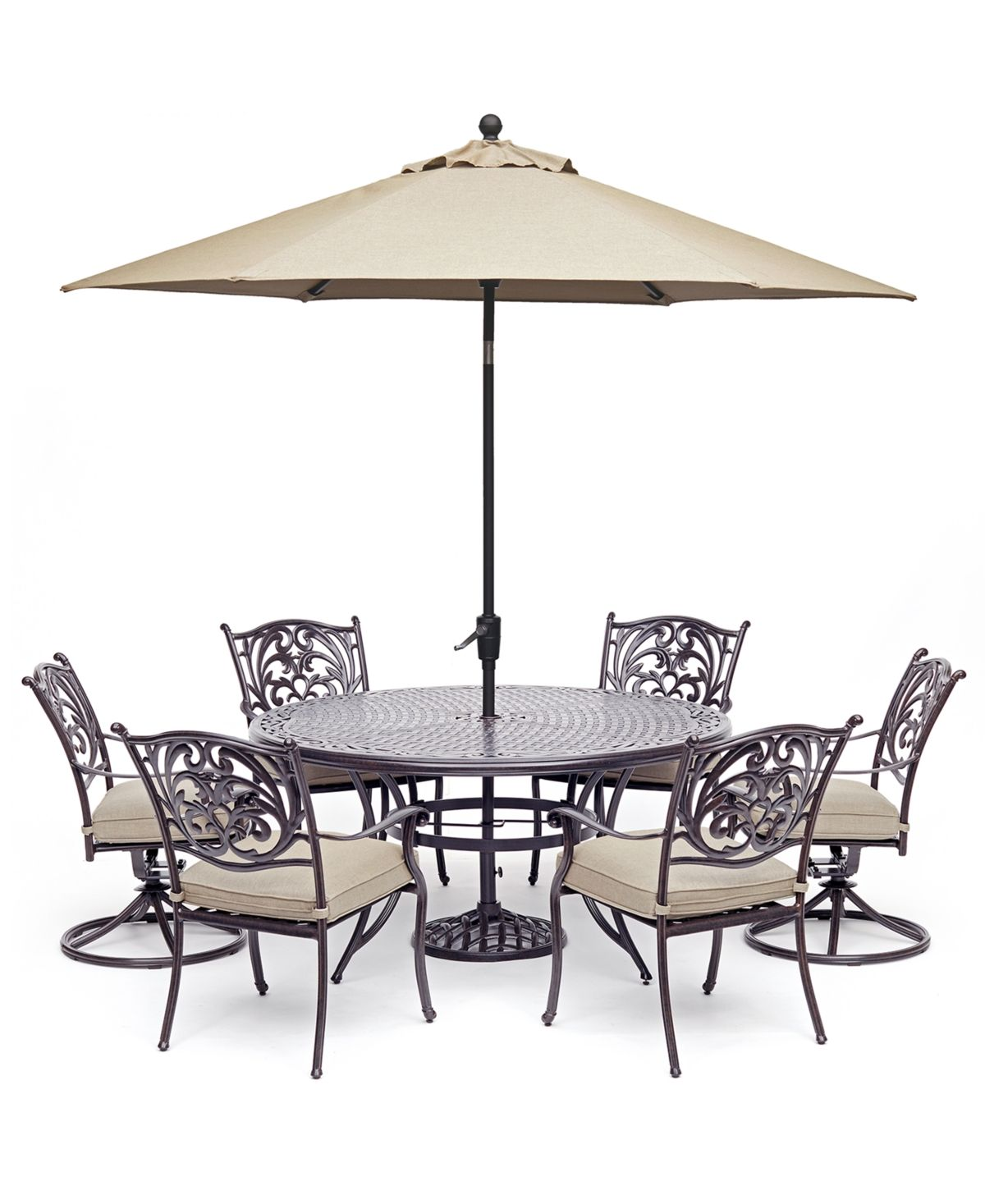 Chateau Outdoor Aluminum 7 Pc Set 60 Round Dining Table 4