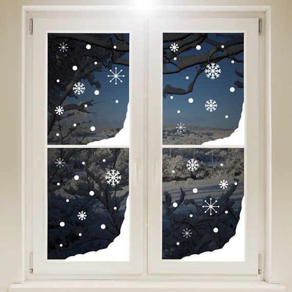 Fen tre de neige de no l dans les coins autocollant blanc for Decoration fenetre noel blanc