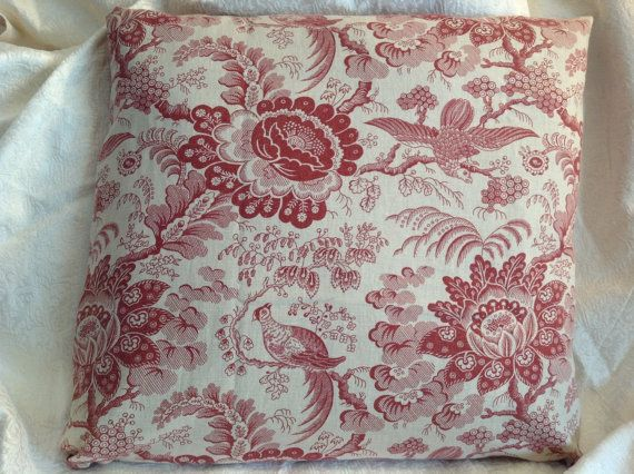 Hey, I found this really awesome Etsy listing at https://www.etsy.com/listing/220979787/toile-pillow-cover-cream-and-antique-red