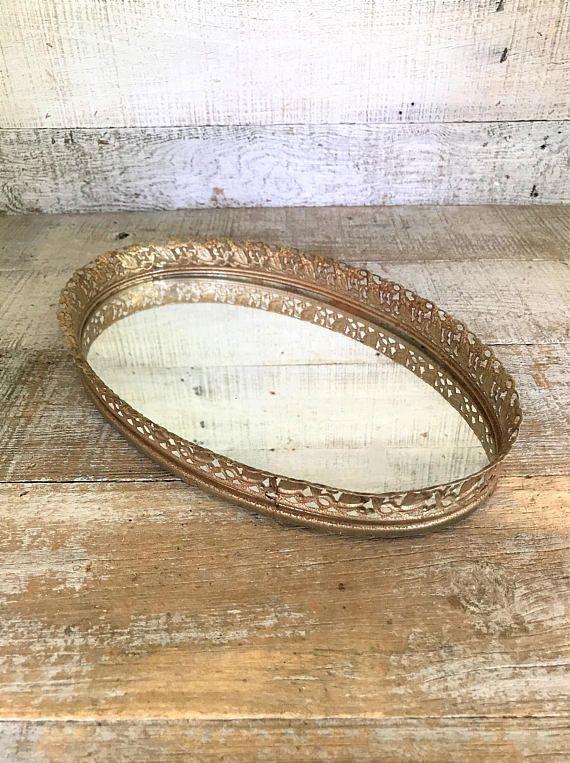 Vanity Mirror Vintage Mirror Large Gold Oval Dresser Tray - Vanity Mirror Vintage Mirror Large Gold Oval Dresser Tray The