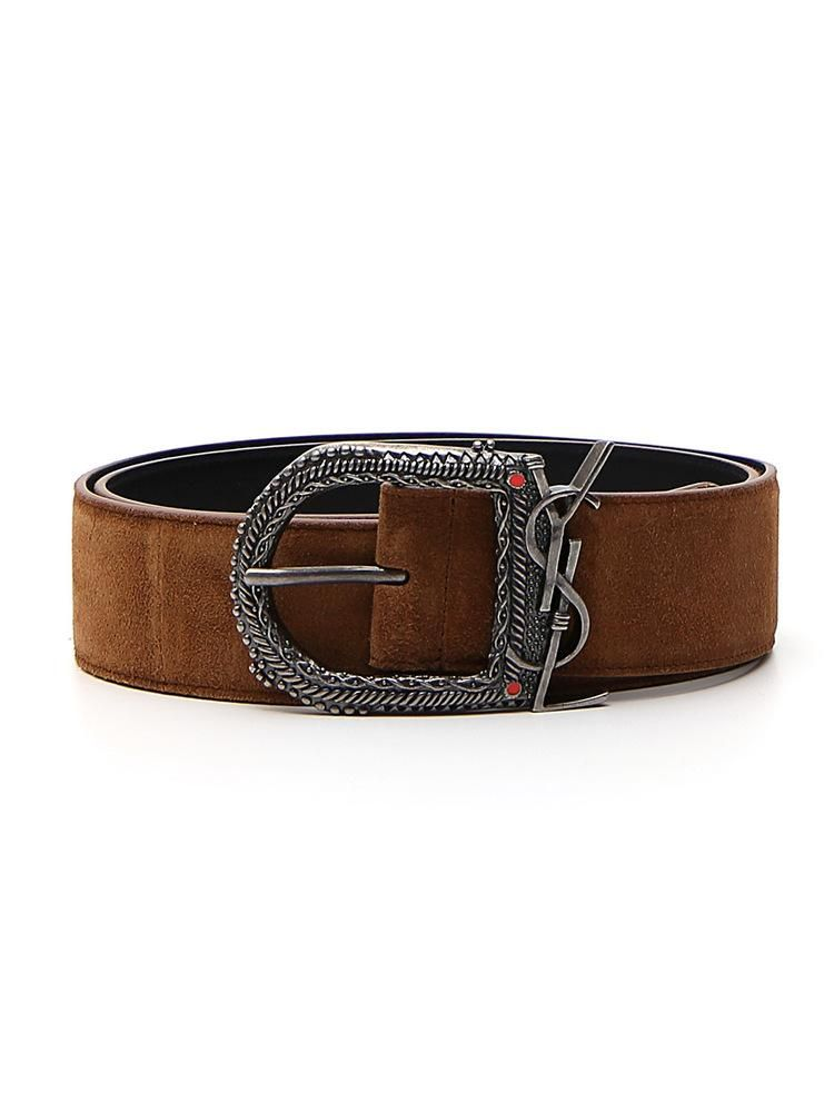 84b19dc7a59 Saint Laurent Monogram Buckle Suede Belt