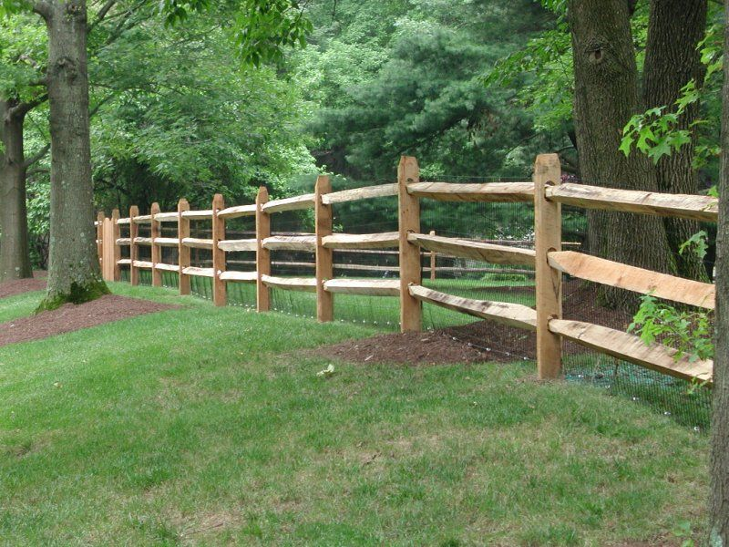 Hardwood Locust Split Rail Fence Backyard Fences Rustic Fence Fence Landscaping
