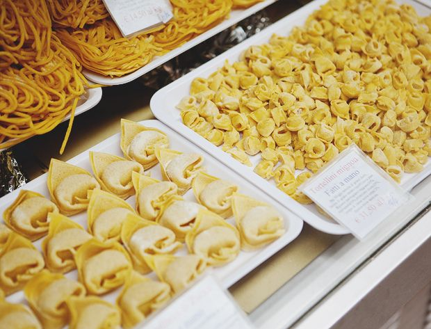 beautiful trays of delicate, handmade pasta in bologna