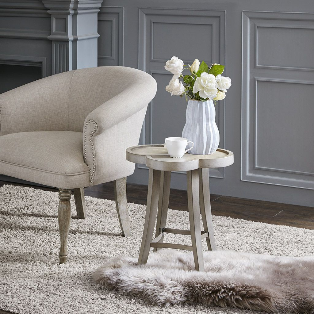Madison Park Hopkins Accent Table in Natural - Olliix MP125-0928  MP125-0928 Features: Transitional StyleTop Material:Wood Veneer+MDFBase Material:WoodTop Finish:Light Gray without wire brush Base Finish:Light Gray without wire brush ; Brushed SilverMade in ChinaSize: 18