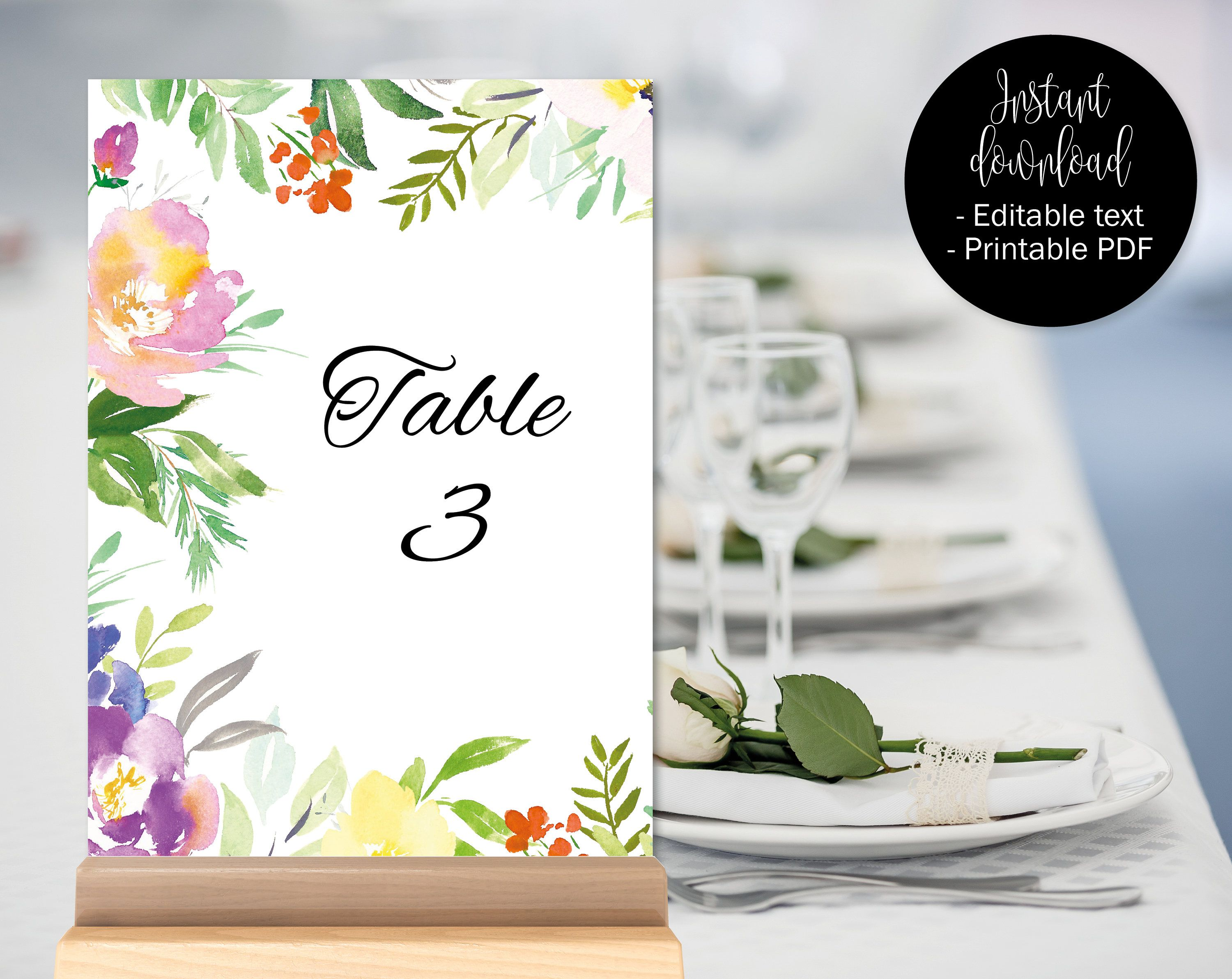 Wedding Table Numbers Printable Table Numbers Wedding Table