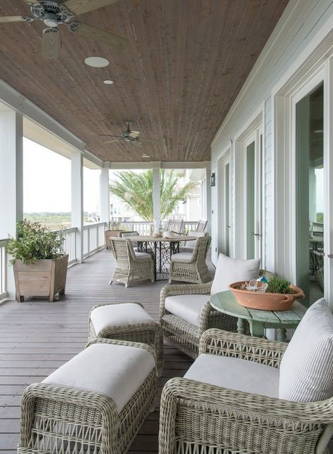 Spacious Serene Second Floor Wraparound Porch With Wicker