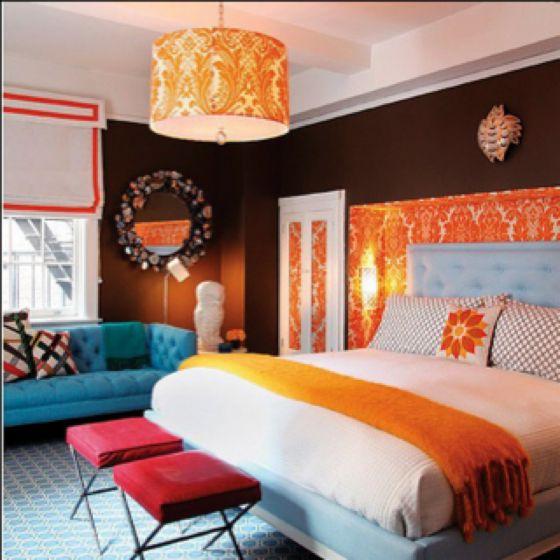 Crazy Color But It S Fun Home Bedroom Orange Bedroom Interior