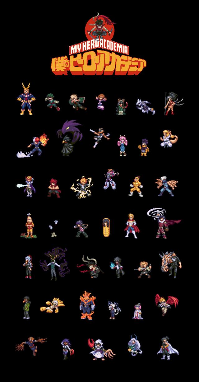 Boku No Hero Academia Pixel Art Full Cast Bokunoheroacademia