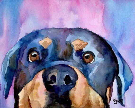 ROTTWEILER Watercolor Dog ART 11 X 14 LARGE by Artist DJR