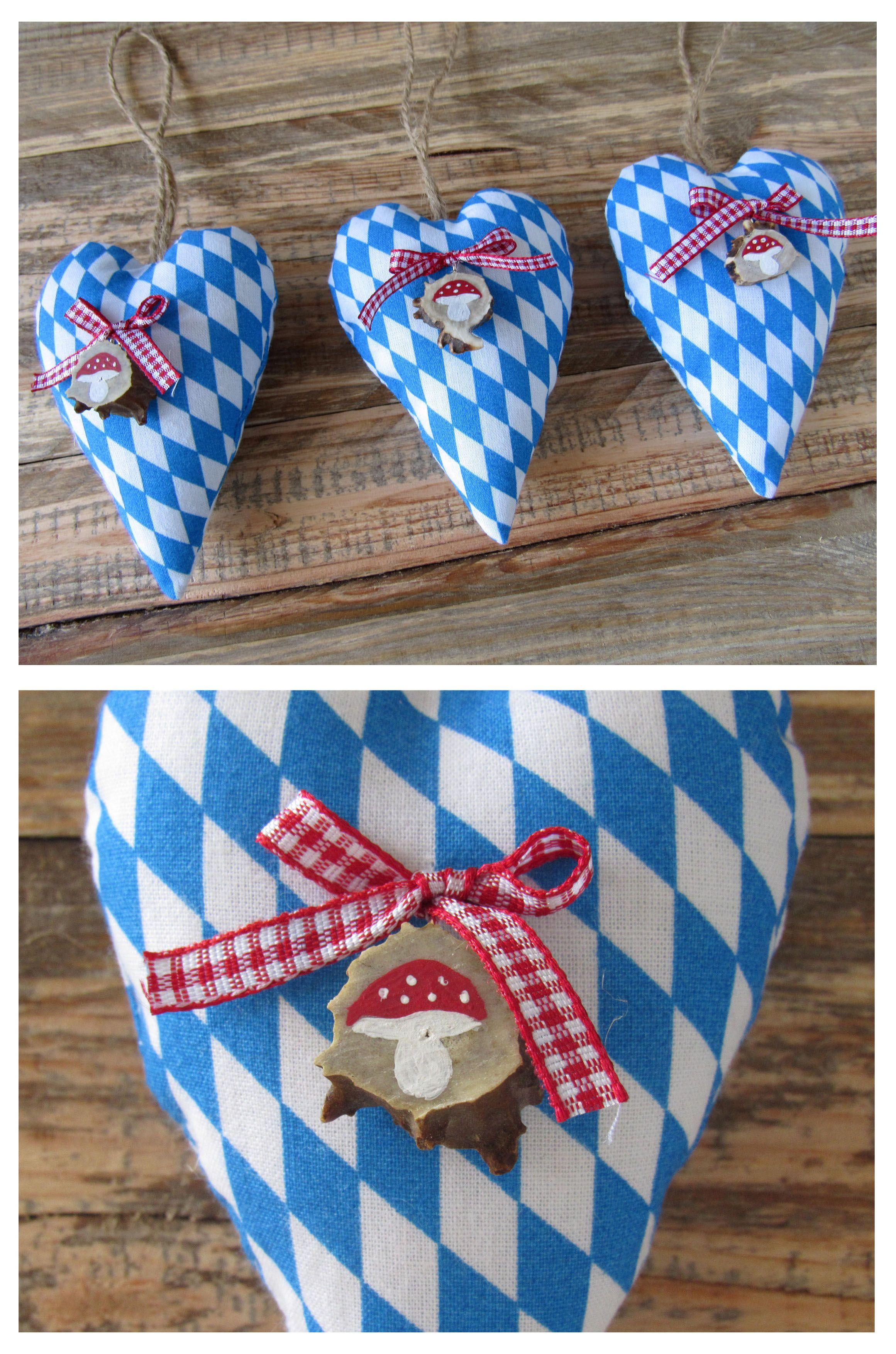 Zünftige dekoration für bayern liebhaber stoffherzen im traditionellen bayern muster mit den typischen blau