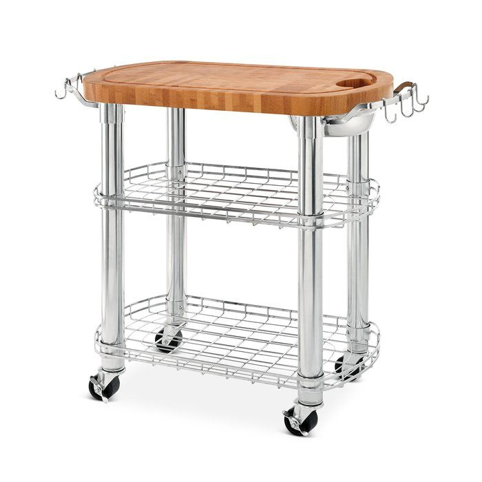 Kuykendall Rolling Oval Solid Bamboo Kitchen Cart with ...