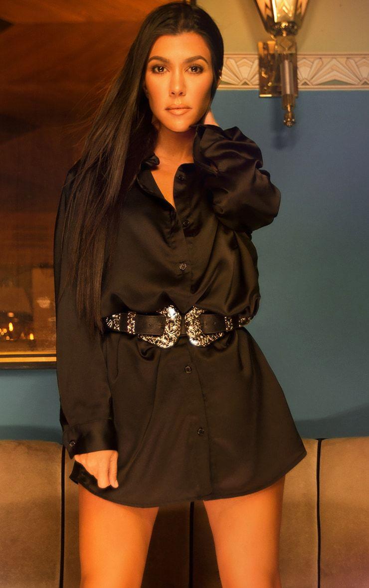 Black Extreme Oversized Satin Shirt Dress
