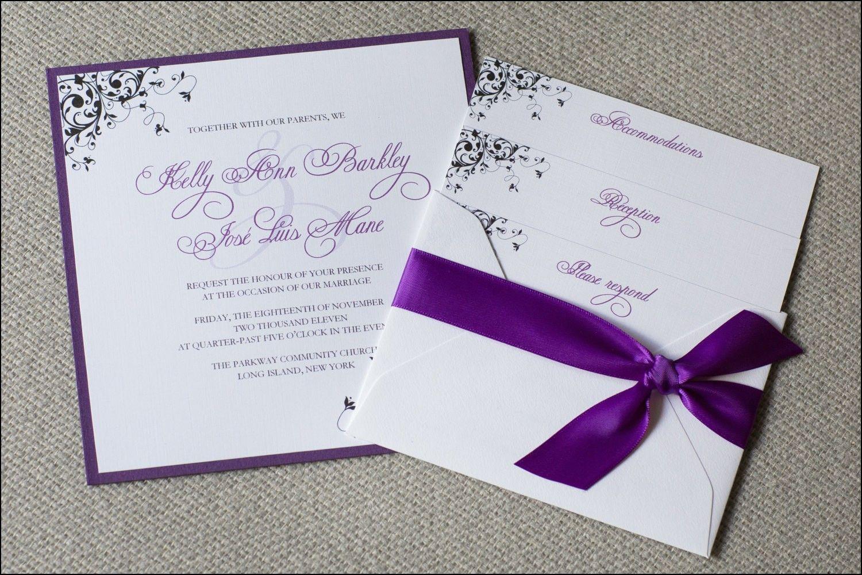 Purple and Cream Wedding Invitations | cisca troue | Pinterest ...