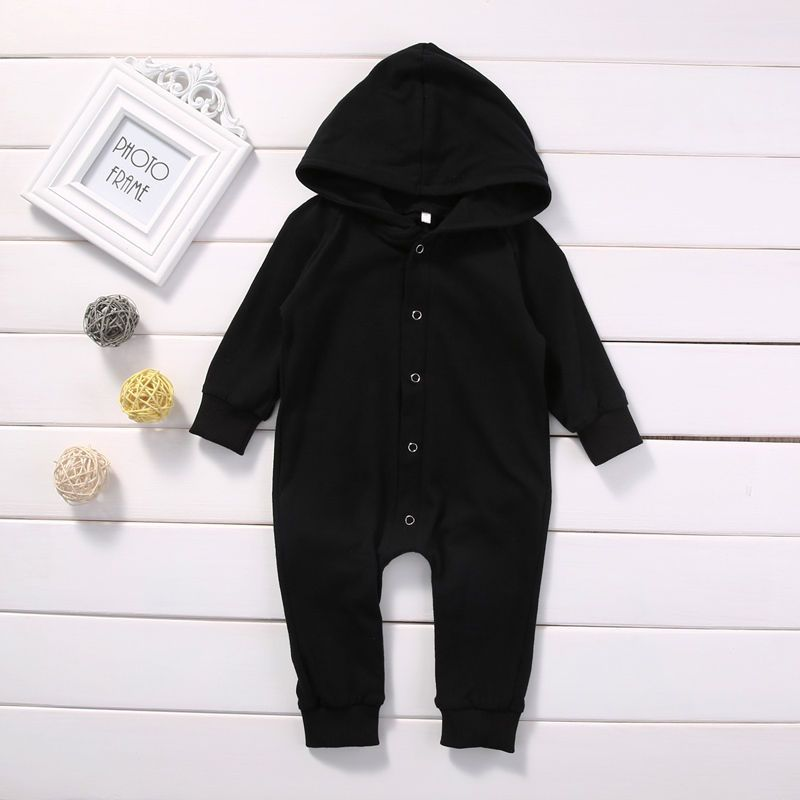 556cc0a25bf Toddler Infant Newborn Baby Boy Clothing Romper Long Sleeve Black Jumpsuit  Playsuit Clothes Outfits 0 24M