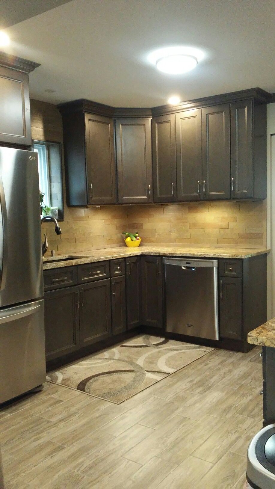 My Husband Made My Dream Kitchen Westpoint Gray Cabintes Wood Back Slpash From Costco We Coated With Polyureth Floor Installation Grey Cabinets Dream Kitchen