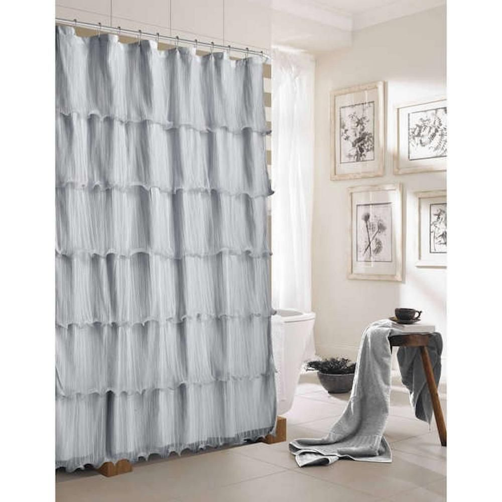 Silver Ruffled Shower Curtain