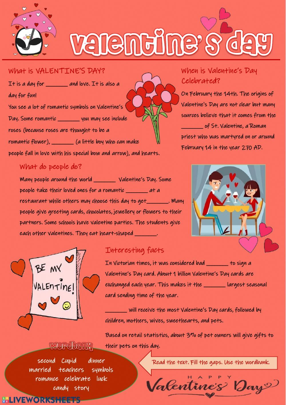 St Valentine S Day Interactive And Downloadable Worksheet You Can Do The Exercises Online Or Down Valentine Worksheets Christmas Worksheets Valentine Reading [ 1413 x 1000 Pixel ]
