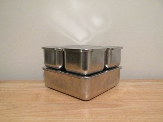 Vintage Revere Ware Stainless Steel Refrigerator Dish Set Food Storage Containers