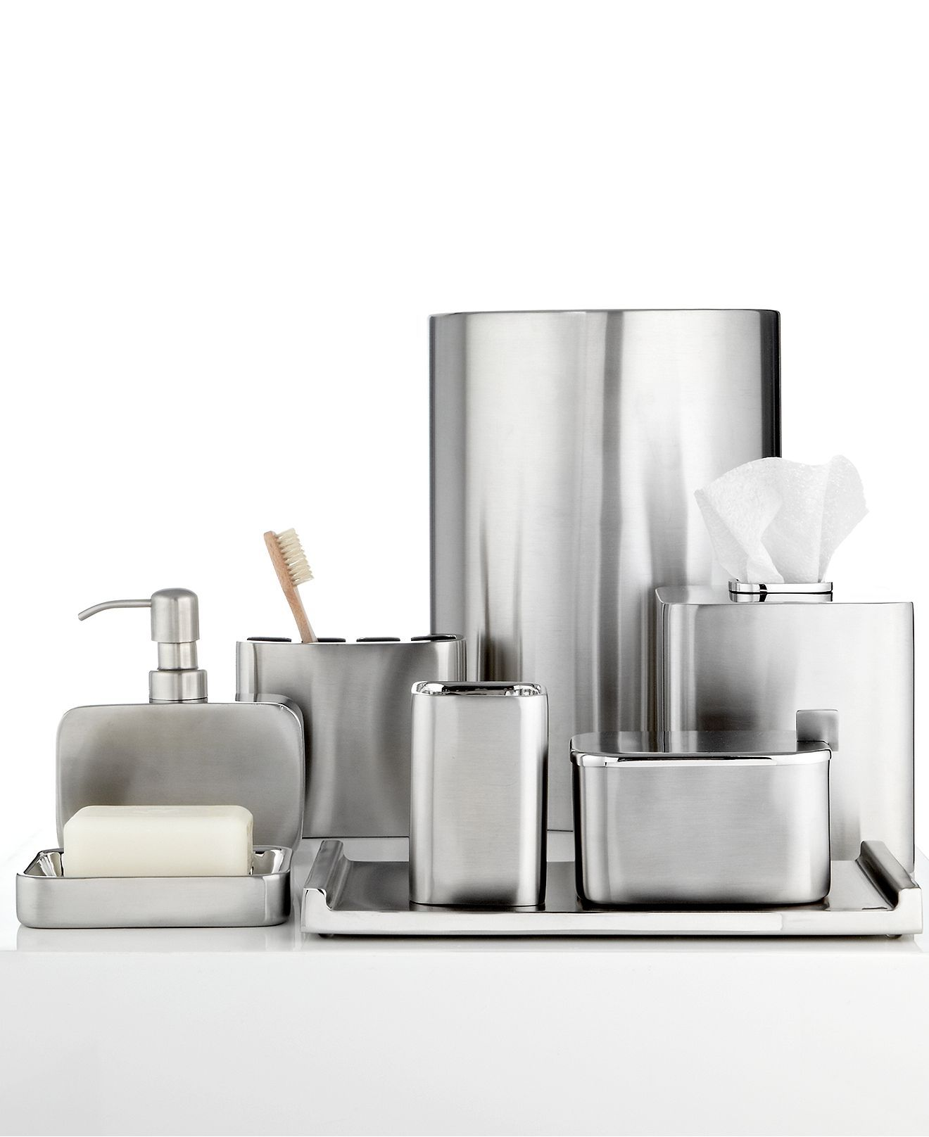Hotel Collection Modern Brushed Stainless Steel Tissue Holder Macy S Bridal And Wedding R Bathroom Accessories Bath