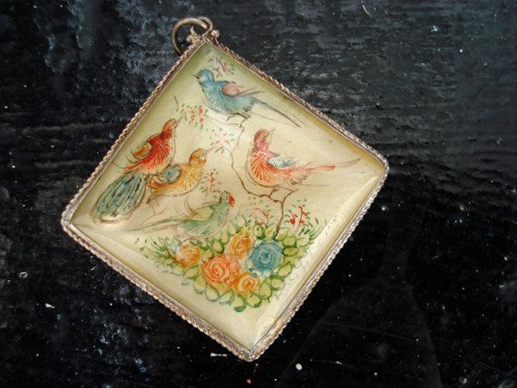 Vintage handpainted Persian pendant birds and by itsvintageindeed