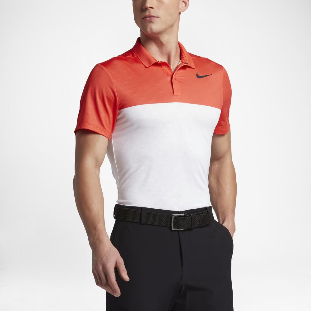 Nike Zonal Cooling MM Fly Block Men's Slim Fit Golf Polo Shirts Orange
