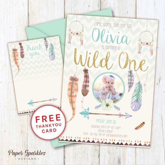 Wild one invitation first birthday invitation dream catcher wild one invitation first birthday by papersparkledesigns on etsy filmwisefo Images
