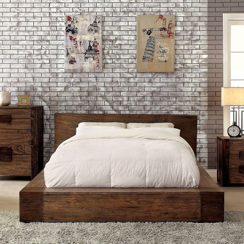 Janeiro Rustic Natural Tone Platform Bed | Camas, Dormitorio y Madera