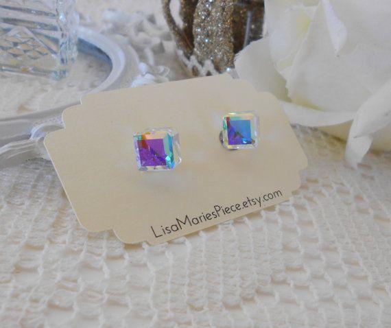 Cube Studs Swarovski Crystal Aurora Borealis Stud Earrings Cubist By Lisamariespiece On