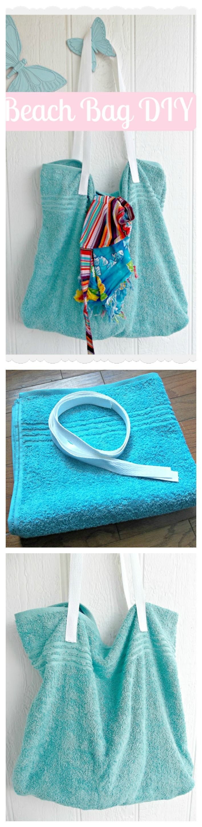 DIY Una genial bolsa playera para este verano!! Ahora ya sabes qué hacer con esa toalla de playa que se quedó anticuada o que ya no usas...